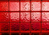 Abstract Of A Red-tone Glass Block Window Frame