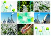 foto of reprocess  - collage and composition about recycling of glass and plastic - JPG
