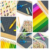 Collage Of  Colorful School Supplies