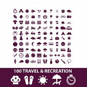 100 travel isolated icons, signs, illustrations, vectors set on white background