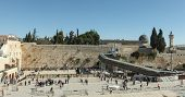 Panoramic view of the wailing wall Jerusalem