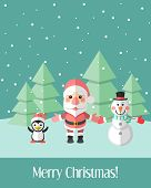 Christmas Card With Santa Claus And Penguin And Snowman