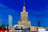 Palace Of Culture And Science And Downtown Business Skyscrapers, City Center, Warsaw, Poland.