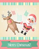 Christmas Card With Merry Santa Claus And Reindeer