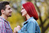 Loving couple in autumn park