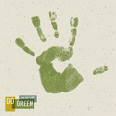Go Green Concept Poster. Handprint on recycled paper texture, vector