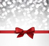 Shiny silver Christmas background with red bow. Vector Illustration.
