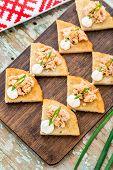 Potato pancakes with salmon teriyaki