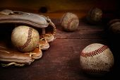 Old Vintage Baseball Background. Focus on ball in glove