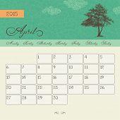 Calendar for April 2015 starting Monday, vector calendar set