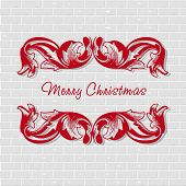 Vintage Christmas card with retro elements on brick wall background