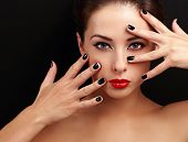 Beautiful Woman With Black Nails Looking