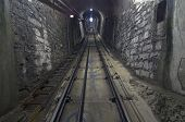 Light At The End Of The Tunnel. End Of The Funicular Station.