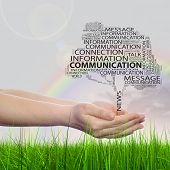 Concept conceptual tree word cloud tagcloud, man or woman hand on rainbow sky green background, metaphor to communication speech, message, mail, dialog, talk, contact, email, internet