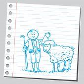 Shepard boy and sheep