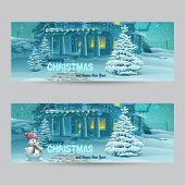 Set Of Horizontal Banners With Christmas And New Year With The Image Of A Snowy Night With A Snowman