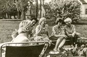 USTRONIE, POLAND, CIRCA SIXTIES: Vintage photo of group of people parting in garden