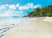 New Year 2015 Season Concept On Azure Tropical Palm Ocean Beach