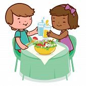 Children eating at a restaurant