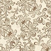 Seamless floral outline vector wallpaper pattern.
