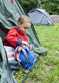 Child In Tent In Campsite