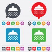 Shower sign icon. Douche with water drops symbol