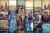 collage photos with  beautiful view of the old town of Charles Bridge and Prague Castle, Czech Republic