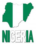 Nigeria map flag and text illustration
