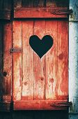 Old Vintage Toilet Door With A Heart Shaped Hole