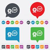 Video chat sign icon. Webcam video speech bubble