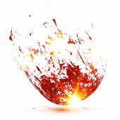 Red abstract meteorite vector explode