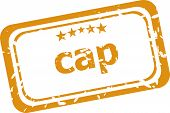 Cap On Rubber Stamp Over A White Background