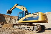 foto of sand gravel  - excavator machine at excavation earthmoving work in sand quarry - JPG