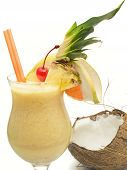 picture of pina-colada  - Pina Colada cocktail isolated on white background - JPG