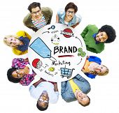 image of diversity  - Diverse People Aerial View Meeting Marketing Brand Concept - JPG