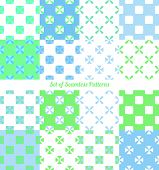 picture of symmetrical  - Set of seamless symmetrical geometric patterns vector illustration - JPG