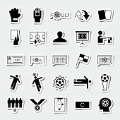 picture of offside  - Soccer square sticker icons set vector illustration - JPG