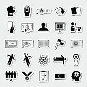 stock photo of offside  - Soccer square sticker icons set vector illustration - JPG
