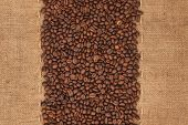 picture of sackcloth  - Coffee beans lying on sackcloth with place for your text - JPG