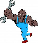 stock photo of ape  - Illustration of an angry gorilla ape mechanic standing with spanner punching facing front set on isolated white background done in cartoon style - JPG