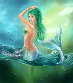 stock photo of mermaid  - illustration Fantasy beautiful mermaid at ocean on waves - JPG