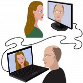 pic of video chat  - Illustration of man and woman having a video chat through the internet - JPG