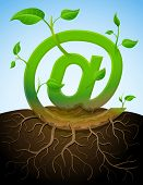 image of bine  - Stylized plant in shape of email sign in ground - JPG