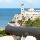 image of el morro castle  - The fortress of El Morro in Havana with an old spanish cannon on the foreground - JPG