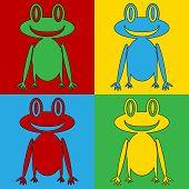 pic of amphibious  - Pop art frog symbol icons - JPG