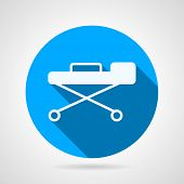 foto of stretcher  - Flat blue vector icon for health care industry with white silhouette clinical stretcher on gray background - JPG