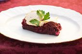 pic of lenten  - beet salad with rusk bread at plate - JPG