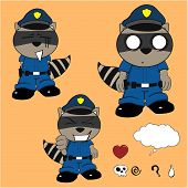 picture of policeman  - raccoon policeman cartoon set in vector format very easy to edit - JPG
