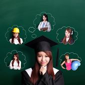 foto of students classroom  - Smile student woman graduating and think her future and job asian beauty - JPG