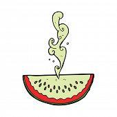 stock photo of squirting  - cartoon juicy squirting watermelon - JPG